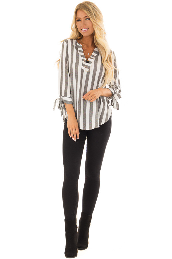 Charcoal and White Striped Top with Tie Detail on Sleeves front full body