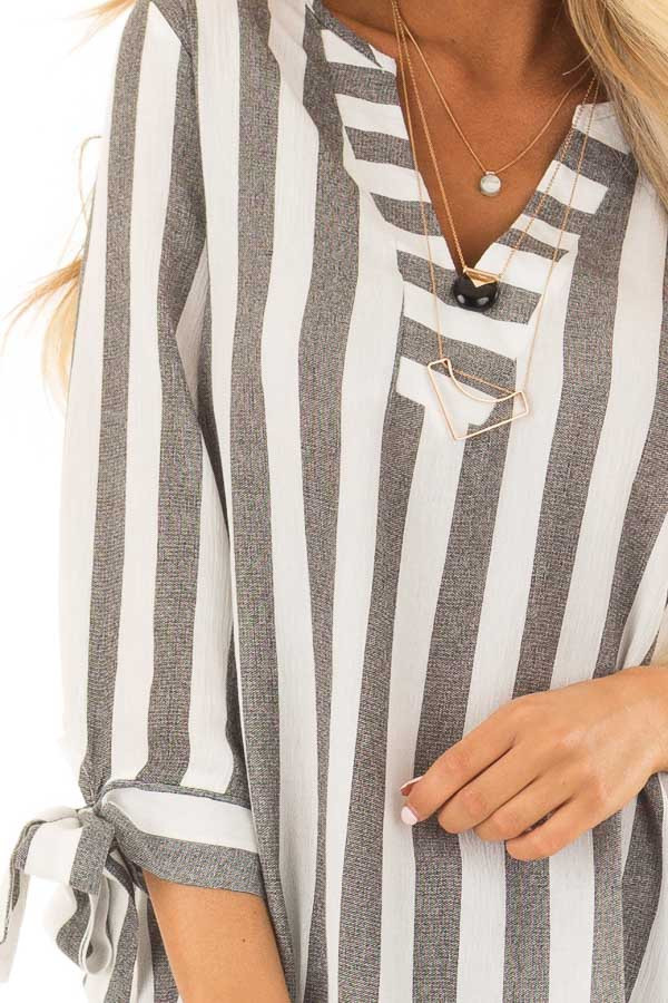 Charcoal and White Striped Top with Tie Detail on Sleeves front detail