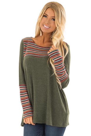Forest Green Long Sleeve Top with Multicolor Stripe Detail front closeup
