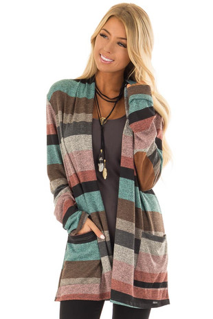 Multi Stripe Long Sleeve Open Front Cardigan with Pockets front closeup