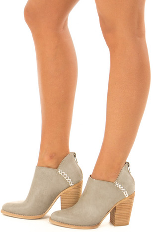 Harbor Grey Distressed Booties with Tan Stacked Block Heel side view