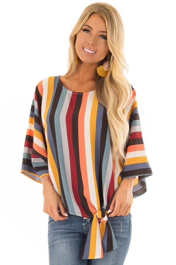 Multi Stripe Top with Dolman Sleeves and Knot Tie on Side front closeup