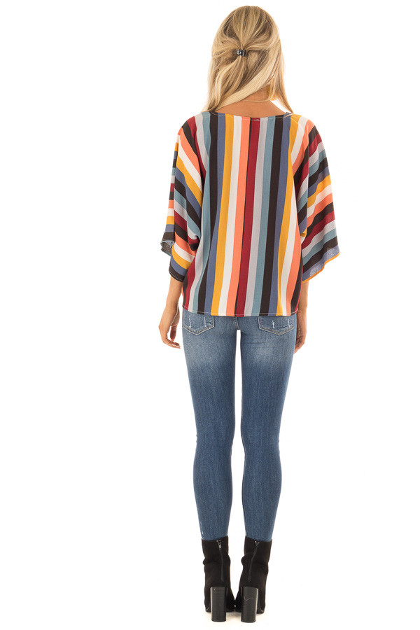 Multi Stripe Top with Dolman Sleeves and Knot Tie on Side back full body