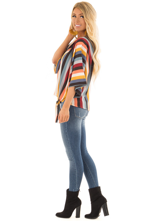 Multi Stripe Top with Dolman Sleeves and Knot Tie on Side side full body