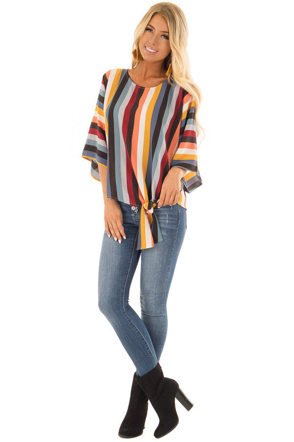 Multi Stripe Top with Dolman Sleeves and Knot Tie on Side front full body