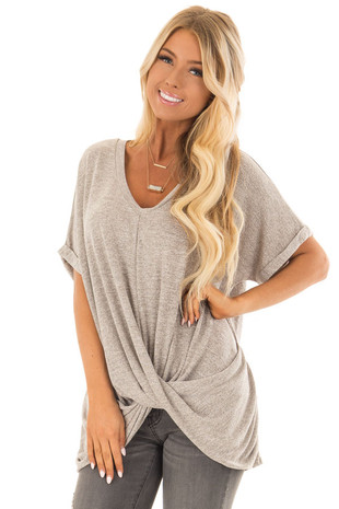 Heathered Oatmeal  V Neck Knit Top with Front Cross Hemline front close up