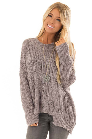 Mocha and Silver Asymmetrical High Neck Long Sleeve Sweater front close up