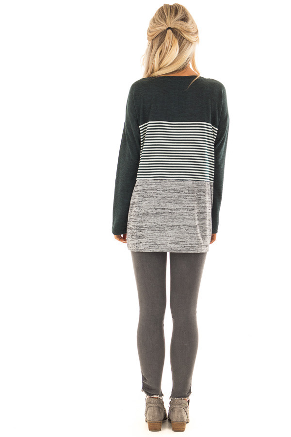Forest Green Color Block Long Sleeve Top back full body