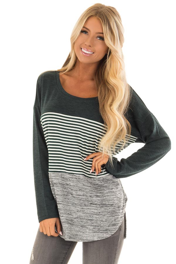 Forest Green Color Block Long Sleeve Top front close up