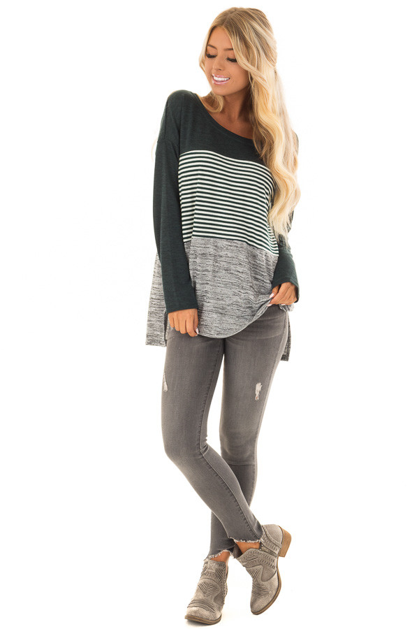 Forest Green Color Block Long Sleeve Top front full body