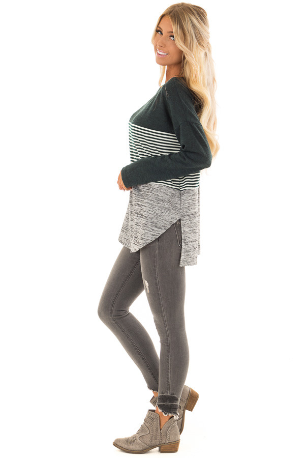 Forest Green Color Block Long Sleeve Top side full body