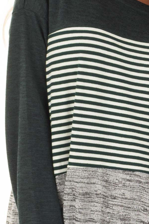 Forest Green Color Block Long Sleeve Top detail