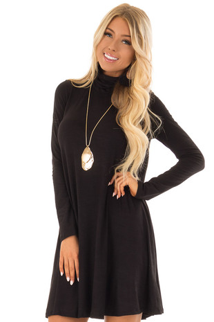 Obsidian Long Sleeve Turtleneck Swing Dress front close up