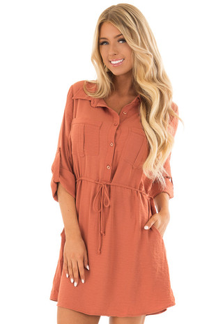 Rust Button Down Long Sleeve Dress with Waist Tie front close up