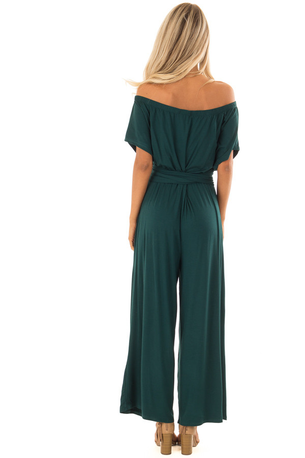 Forest Green Off the Shoulder Jumpsuit with Waist Tie back full body