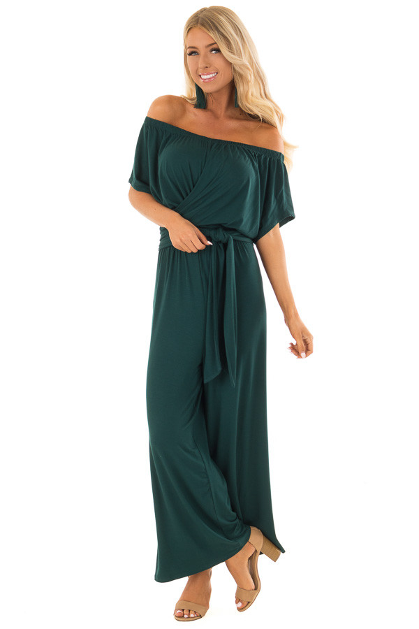 Forest Green Off the Shoulder Jumpsuit with Waist Tie front full body