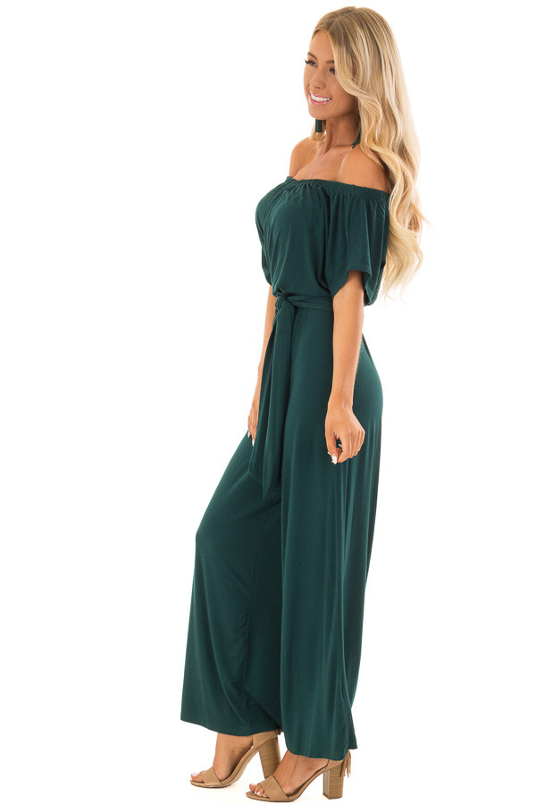 Forest Green Off the Shoulder Jumpsuit with Waist Tie side full body