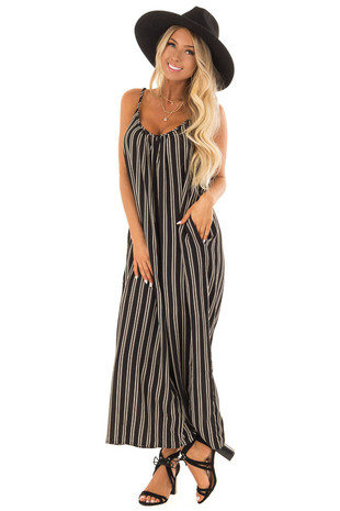 Black and Cream Striped Sleeveless Jumpsuit with Pockets front full body