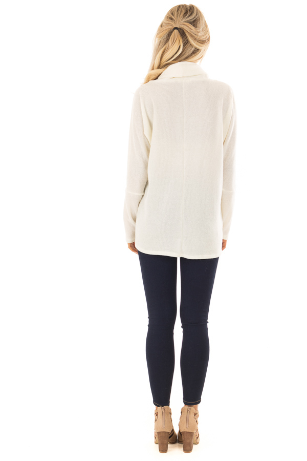 Ivory Layered Sweater with Cowl Neckline and Drawstring back full body