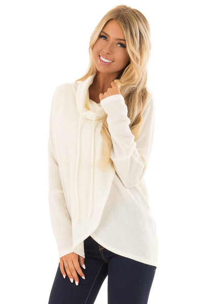 Ivory Layered Sweater with Cowl Neckline and Drawstring front close up