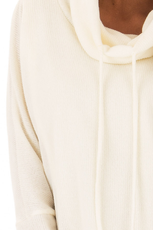 Ivory Layered Sweater with Cowl Neckline and Drawstring detail