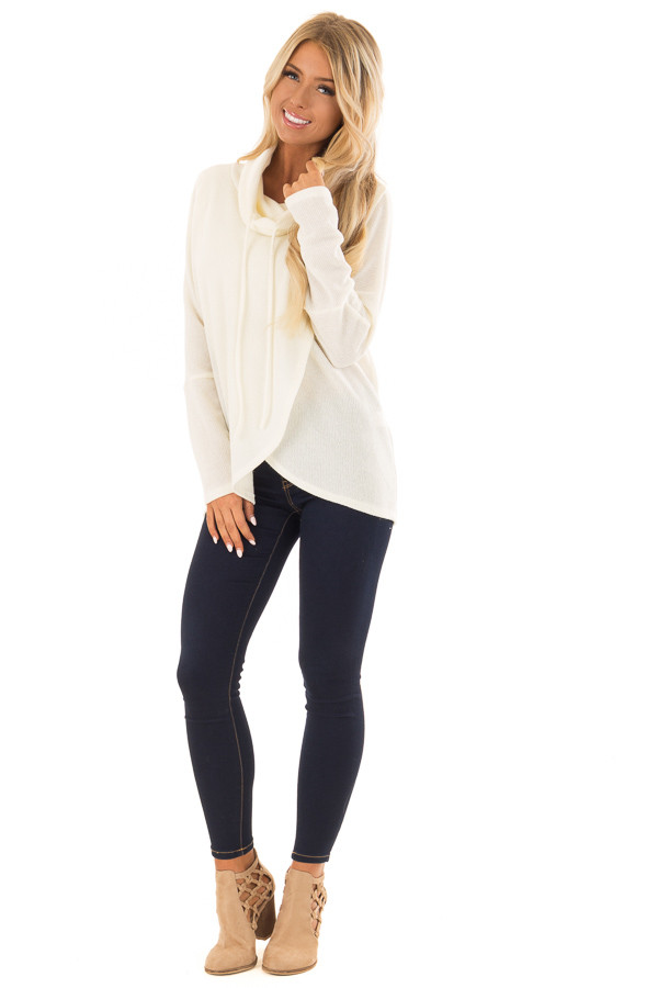 Ivory Layered Sweater with Cowl Neckline and Drawstring front full body