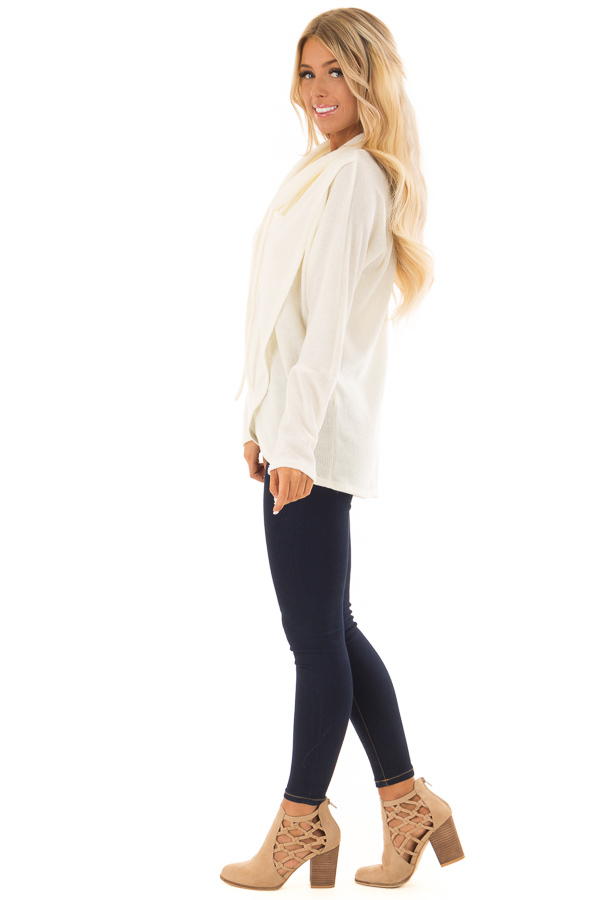 Ivory Layered Sweater with Cowl Neckline and Drawstring side full body