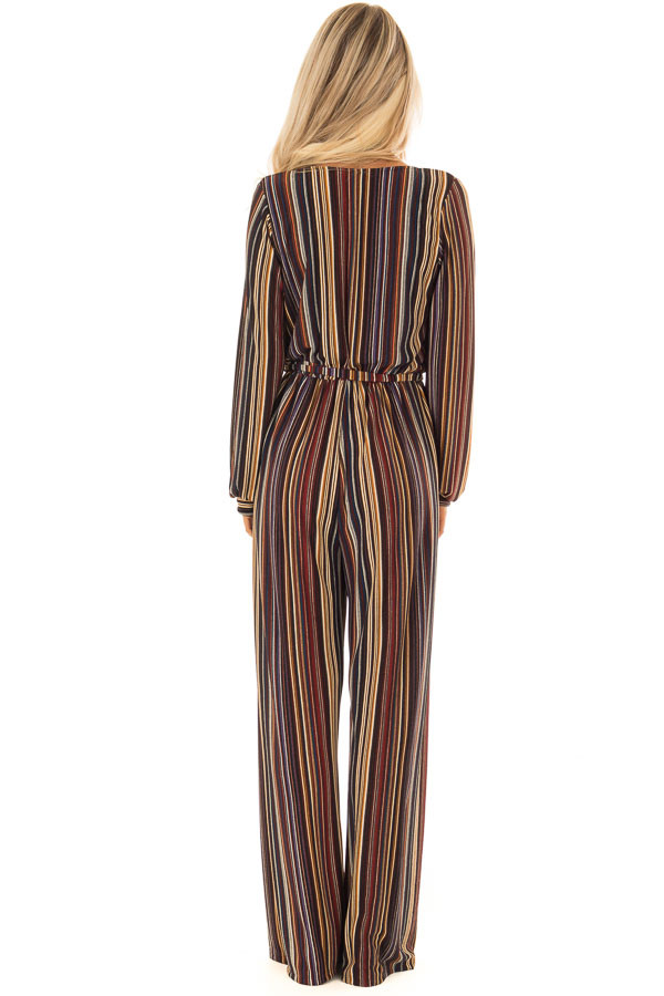 Multi Color Striped V Neck Jumpsuit with Waist Tie back full body