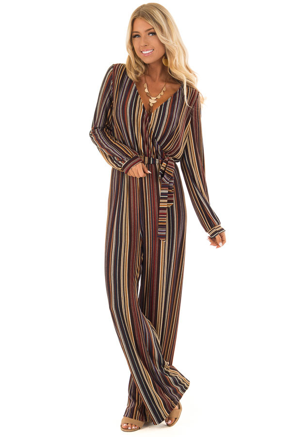 Multi Color Striped V Neck Jumpsuit with Waist Tie front full body