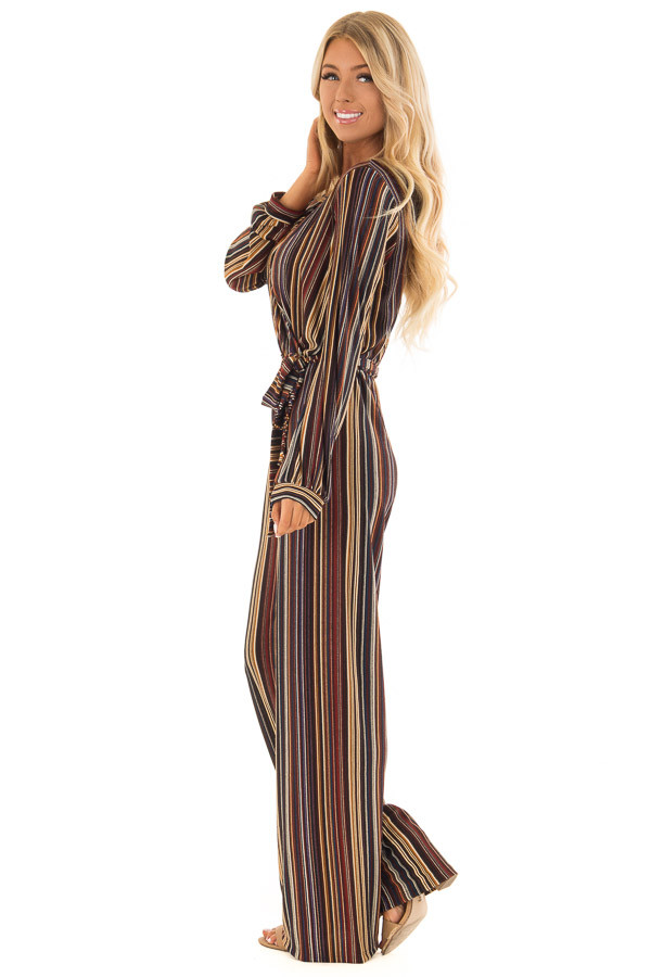 Multi Color Striped V Neck Jumpsuit with Waist Tie side full body