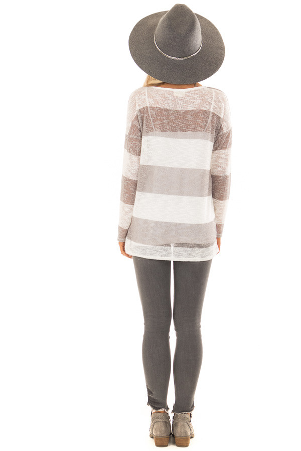 Heather Grey and White Striped Knit Top with Long Sleeves back full body
