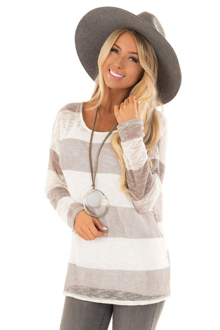 Heather Grey and White Striped Knit Top with Long Sleeves front close up