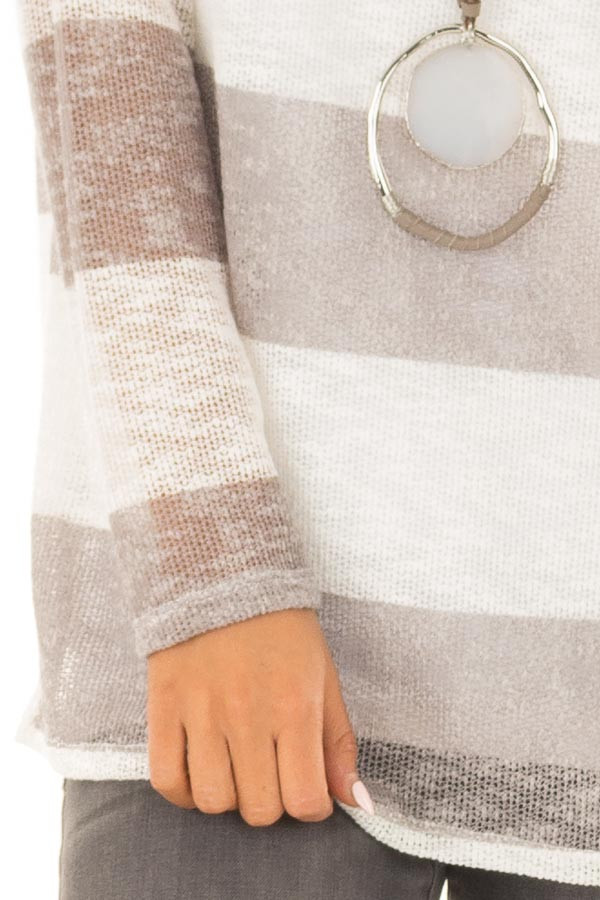 Heather Grey and White Striped Knit Top with Long Sleeves detail