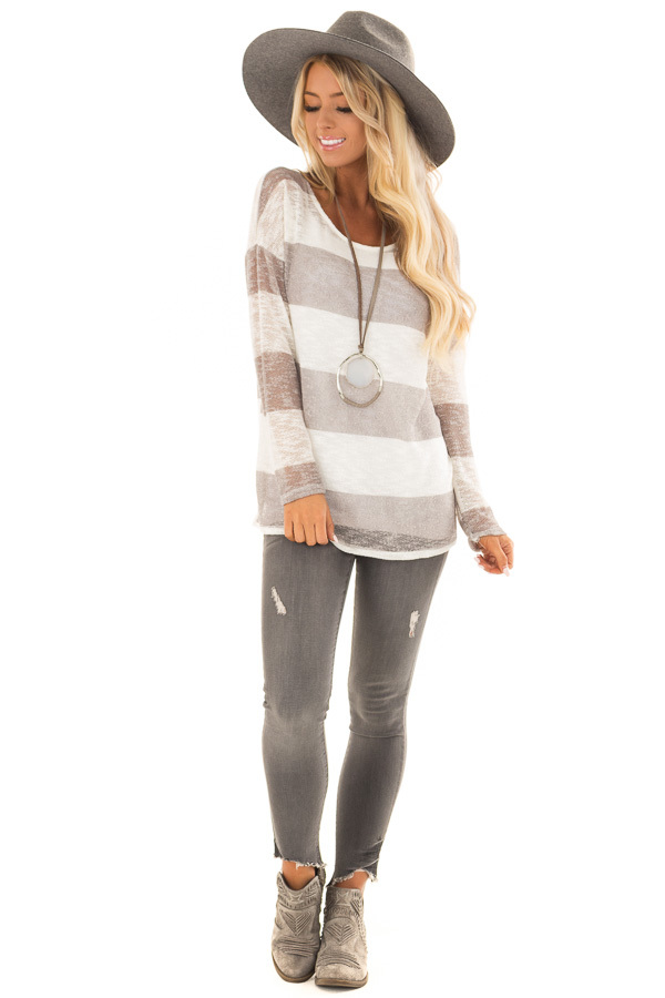 Heather Grey and White Striped Knit Top with Long Sleeves front full body