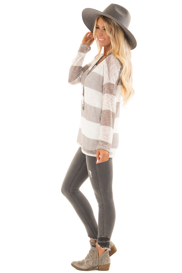 Heather Grey and White Striped Knit Top with Long Sleeves side full body
