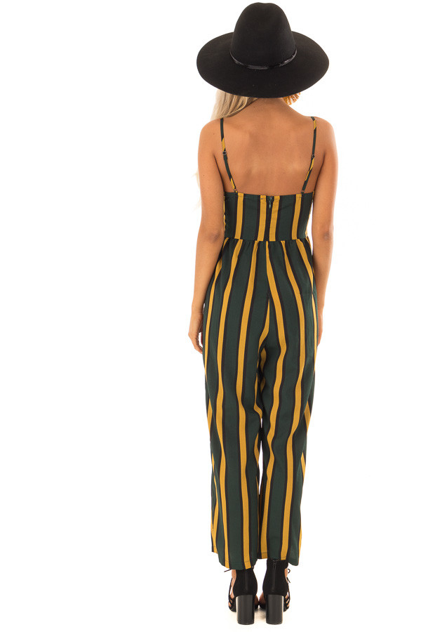 Forest Green and Mustard Striped Jumpsuit with Side Pockets back full body