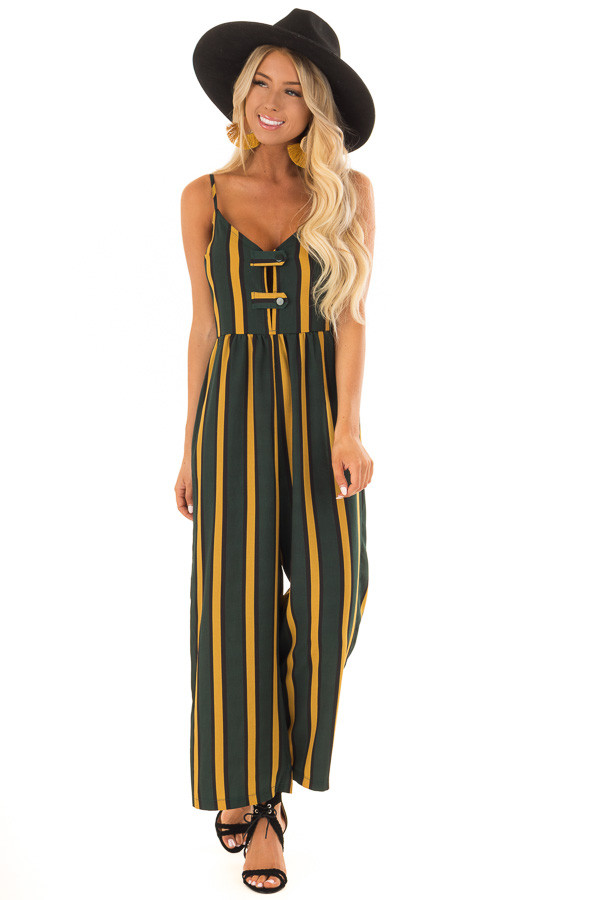 Forest Green and Mustard Striped Jumpsuit with Side Pockets front full body
