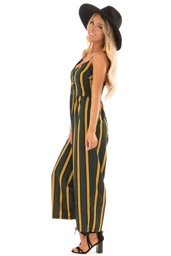 Forest Green and Mustard Striped Jumpsuit with Side Pockets side full body