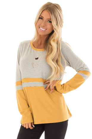 Mustard and Cream Striped Color Block Top with Long Sleeves front full body