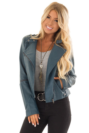 Dark Teal Faux Leather Moto Jacket with Zipper Closure front close up