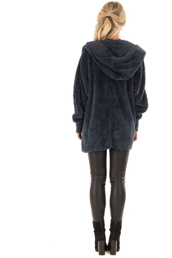 Dusty Teal Fleece Hooded Cardigan with Front Pockets back full body