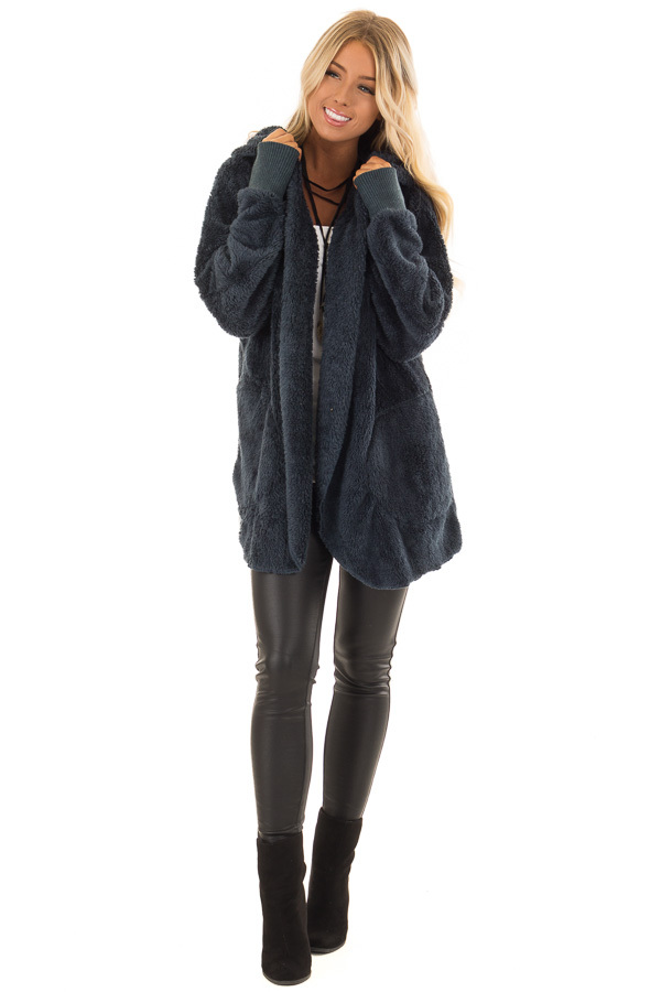 Dusty Teal Fleece Hooded Cardigan with Front Pockets front full body