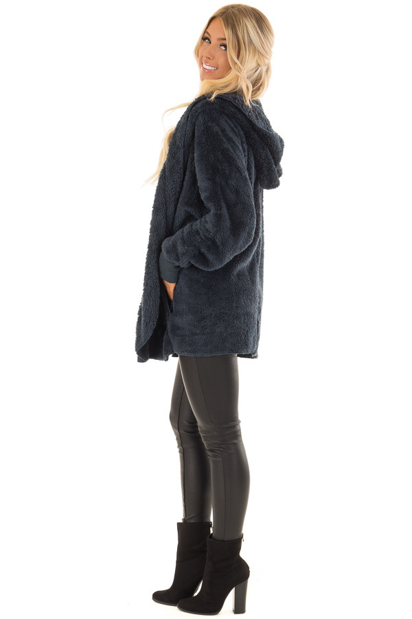 Dusty Teal Fleece Hooded Cardigan with Front Pockets side full body
