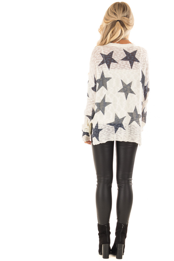 Cream and Navy Star Print Long Sleeve Sweater back full body