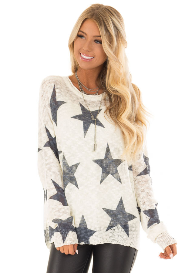 Cream and Navy Star Print Long Sleeve Sweater front close up