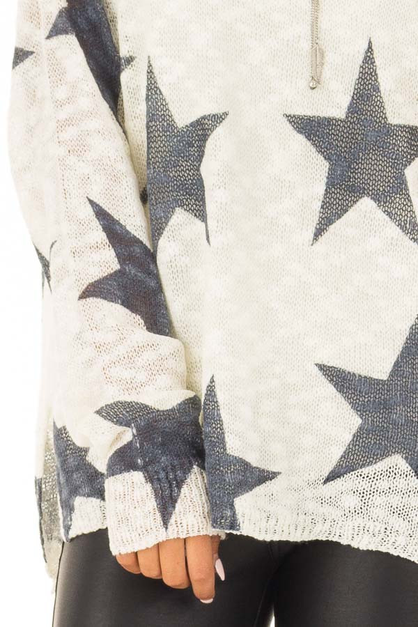 Cream and Navy Star Print Long Sleeve Sweater detail