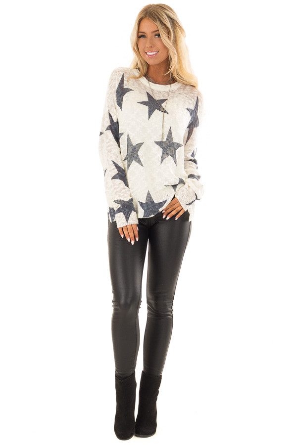 Cream and Navy Star Print Long Sleeve Sweater front full body
