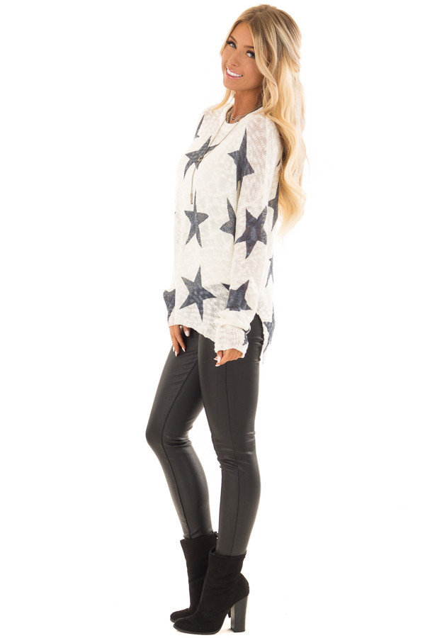 Cream and Navy Star Print Long Sleeve Sweater side full body