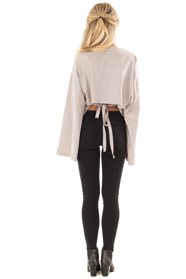 Cloud Grey Long Sleeve Top with Open Tie Back back full body
