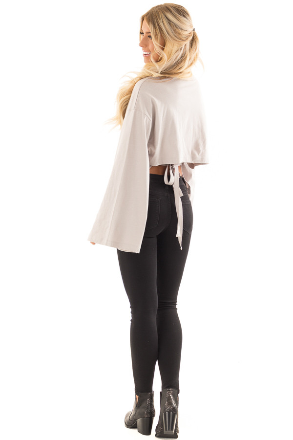 Cloud Grey Long Sleeve Top with Open Tie Back back side full body